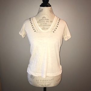 White J. Crew V-Neck with Stud Accents Size XS